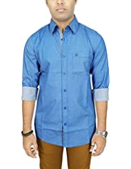 AA' Southbay Men's Blue Printed 100% Premium Cotton Long Sleeve Party Casual Shirt