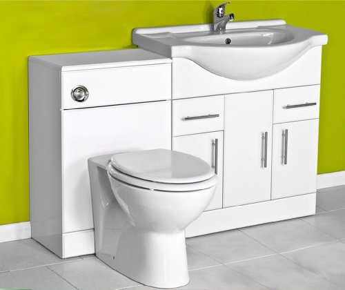 White 750 Bathroom Vanity Combination Unit Suite 500 Back To Wall Toilet, Pan, Soft Close Seat, Tap