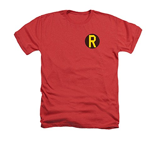 Batman DC Comics Superhero Robin Costume R Logo Adult Heather T-Shirt Tee