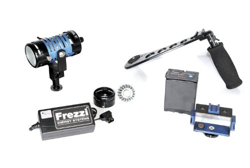 Frezzi HH-1 Kit Includes Dimmer Mini-Fill, PB-65 Battery, Charger, Camera Battery Mount Holder, SG-HH Hand Grip Stabilizer, and Shoe Mount