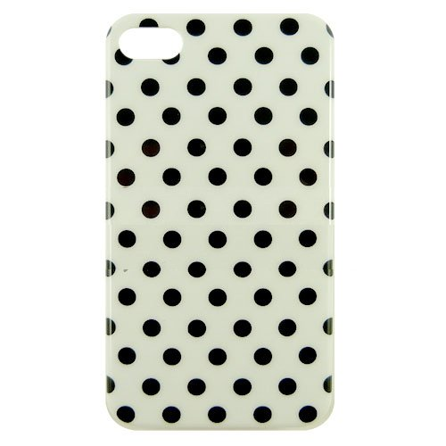 Soft Protective Leather Polka Dot Hard Shell Case For Iphone 4 4S - Black/ White - All Repair Parts Usa Seller
