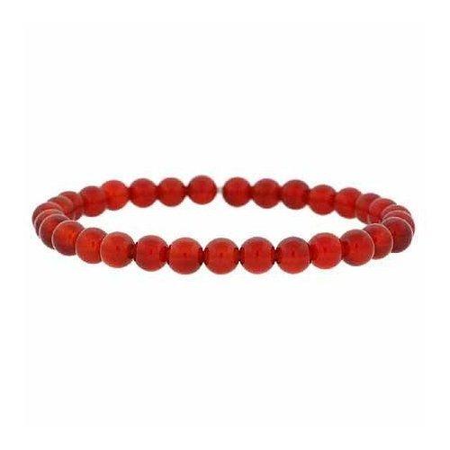 Genuine Carnelian Stone 6mm Bead Beaded Stretch Bracelet
