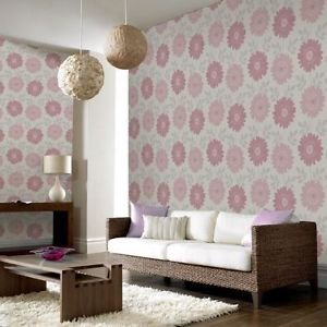 Fresco Stria Floral Wallpaper - Pink by New A-Brend
