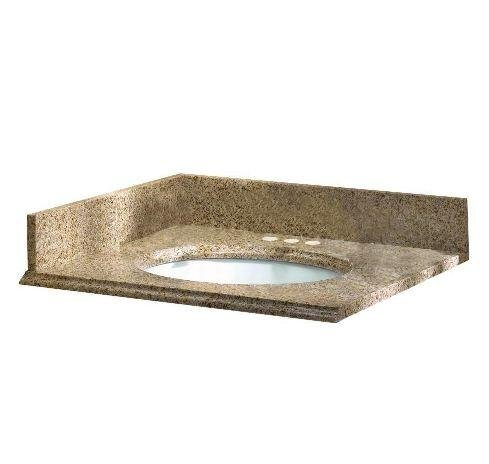 Pegasus 13682 25-Inch by 22-Inch Solid Granite Vanity Top, Beige