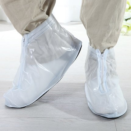 Fashion White Xxl Women Men Zippered Nonslip Rainproof Flodable Reusable Short Boots Shoe Covers Rain Protector For Flat Shoes Covers