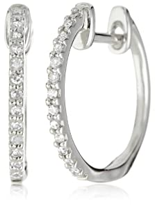 "KC Designs ""Charmed Life"" Diamond 14k White Gold Micro Pave Mini Hoop Earrings"