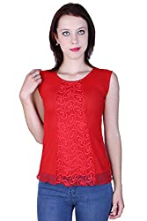 Zavi Red Solid Fancy Net Top for Women
