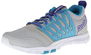 Reebok Women's Yourflex Trainette 5.0 L Cross-Training Shoe,Steel/Flight Blue/Ultima Purple/White,8 M US