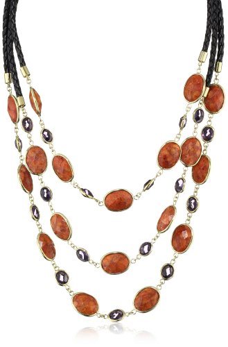 GALA by Daniela Swaebe Candy 18K Plated Bib Style Sponge Coral with Purple Lucite Necklace