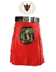 Cotton Red Traditional Military Style Mens Scottish Highland Utility Kilt