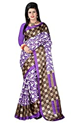 RGR Enterprice Woman's Bhagalpuri Designer Saree (PURPLE CHECKS_Multi-Coloured_Free Size)