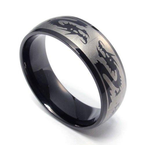 (キチシュウ)Aooazジュエリー メンズステンレスリング指輪 スムーズシンプルデザイン ドラゴンのパターン ブラック 高品質のアクセサリー 日本サイズ17号(USサイズ8号)