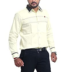 PP Shirts Men Pure Linen Casual Shirt ( Lemon Yellow XL )