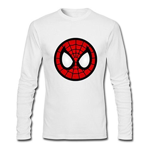 Mens Spiderman Mask Long Sleeve Tees Shirts Tshirt Small White
