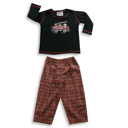 Mis Tee V-Us - Baby Boys Long Sleeve Pant Set, Black, Red 19185-6Months front-349176