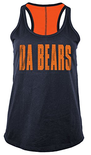 NFL Chicago Bears Women's Baby Jersey Racer Back Tank Top with Contrasting Colors, X-Large, Navy