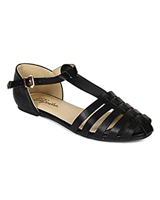 Amazon.com: Paprika CD66 Women Leatherette Almond Toe T-Strap