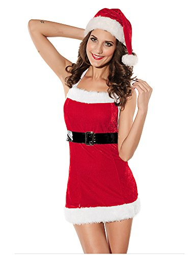 SaiDeng Women's Red Christmas Outfits Hat Backless Braces Short Skirt