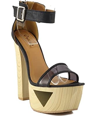 Qupid Lakie-10X Ankle Strap Cut Out Platform Sandals BLACK (8.5)