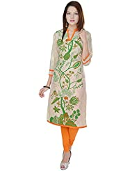 Beautiful Cotton Printed Cream&Green Kurti