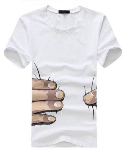 進撃の巨人風 掴まれた!? おもしろ 3D Tシャツ 面白 ギャグ パロディ ジョーク (L, 白)