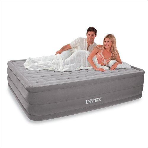 Intex Queen Supreme Pillow Top Ultra Plush Deluxe AirBed Guest Mattress Gray