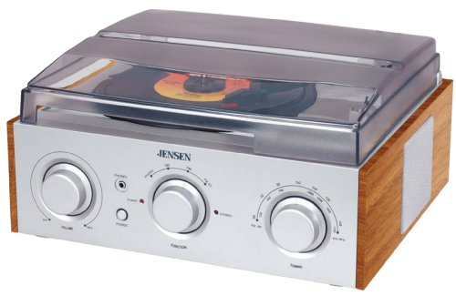 Read About Jensen 3-Speed Stereo Turntable with AM/FM Stereo Radio (Silver)