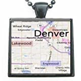 Denver Colorado Map Glass Black Tile Pendant Necklace with Black Chain at Amazon.com
