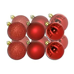 Red Shatterproof Christmas Baubles - 12 Pack 60mm