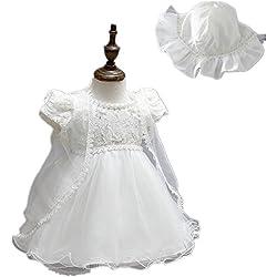 Confezione da 2 pezzi, colore: avorio perlato e Corsetto in raso, per bambina, 1512 battesimo Avorio 6-12 mesi