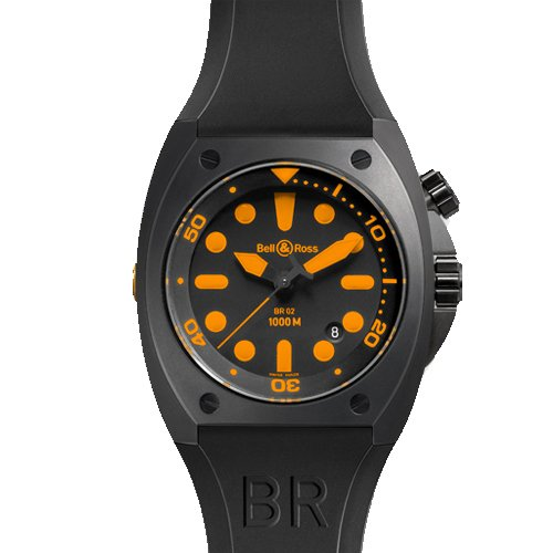 Bell & Ross BR 02 ORANGE Black Steel Case Black & Orange Dial Date Men's Watch