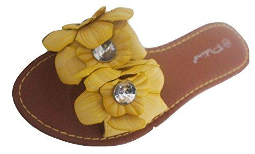 Donna Fiore Giallo Infradito Sandali da donna tacco basso, Giallo (giallo), 39 EU (EU 39)