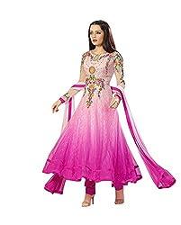 NIK CREATION Women's Net Semi-Stitched Pink Anarkali Suit