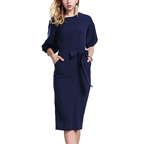 JXLOULAN Lanterna Womens collo vestiti dalla matita Royal Blue Crew manica in chiffon del vestito da lavoro (L)