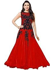 Surat Tex Red & Black Colored Georgette Embroidered Designer Semi-Stitched Anarkali Suit-J614DL103