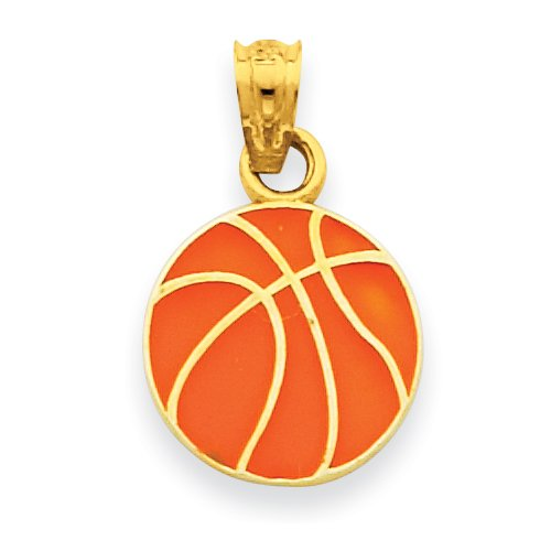 14k Enameled Basketball Pendant