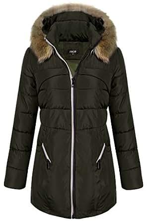 Finejo Women's Winter Warm Thickened Jacket Fur Hood Long