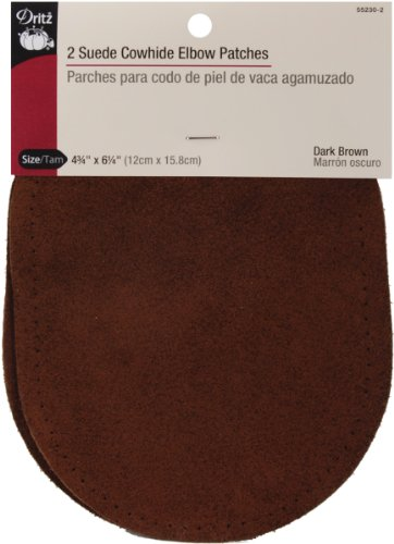 "Lowest Prices! Suede Cowhide Elbow Patches 4 3/4 "" x 6 1/4"" (2/Pkg-Dark Brown)"