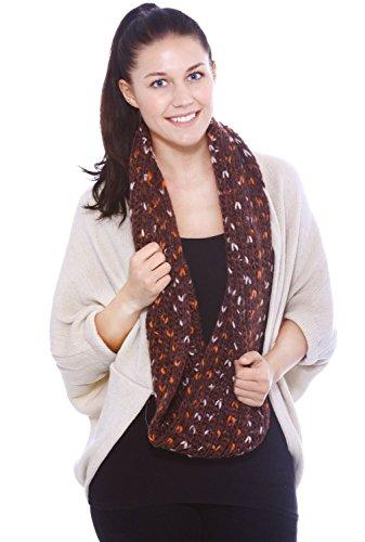 Hellojuncao Winter Infinity Loop Multicolor Knit Cowl Scarf