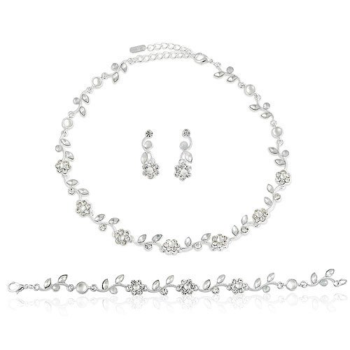 Silver Tone Clear Crystal 3-pcs Necklace Earrings Bracelet Set