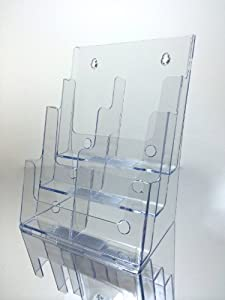 Marketing Holders Brochure Holder, Combo Three Tier, Holds 8.5 X 11 Literature or Converts to 4 X 9 Tri-fold Brochures with Supplied Dividers, Clear Acrylic, Counter Top or Wall Mount Design - Sold in Lots of 6