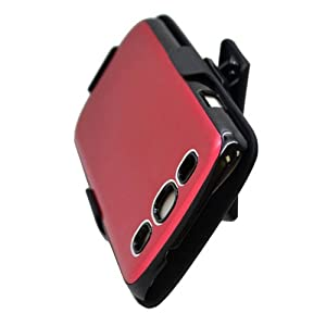 Red Holster Combo Aluminum Brushed Hard Case Cover For Samsung Galaxy S3 i9300