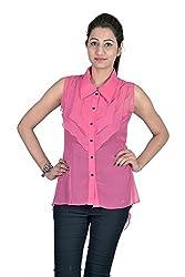 Iande Plain Pink Georgette Top