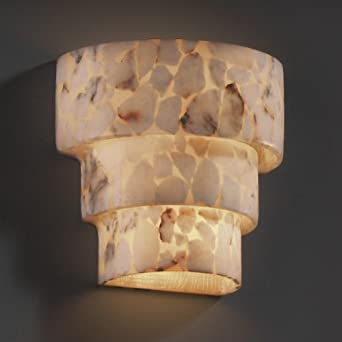 Justice Design Group ALR-2225 Wall Sconce from the Alabaster Rocks! Collection, Alabaster