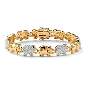 Palm Beach Jewelry - Armband Elefanten - vergoldet 14 Karat (585) - runde Zirkonia in Pavéfassung