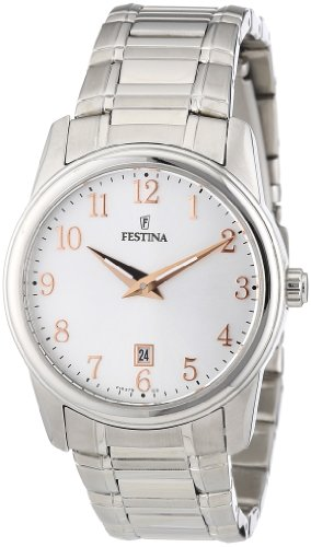 Festina F16379/3 - Reloj analógico para mujer de acero inoxidable Resistente al agua plata
