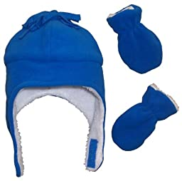 N\'Ice Caps Boys Sherpa Lined Micro Fleece Pilot Hat and Mitten Set (3-6 Months, Infant - Royal)