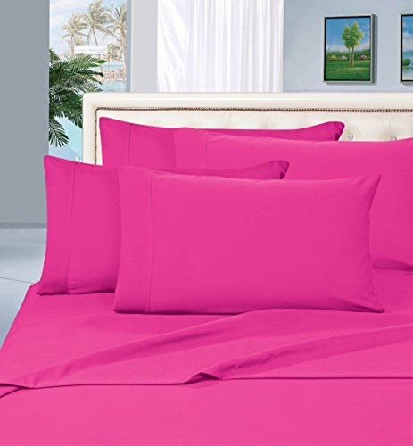 #1 Rated Best Seller Luxurious Bed Sheets Set on Amazon! Elegant Comfort® 1500 Thread Count Wrinkle,Fade and Stain Resistant 4-Piece Bed Sheet set, Deep Pocket, HypoAllergenic - Queen Hot Pink (Pink Sheets compare prices)