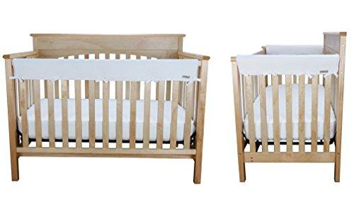 White Fleece 3 Piece CribWrap Convertible Crib Rail Cover Set