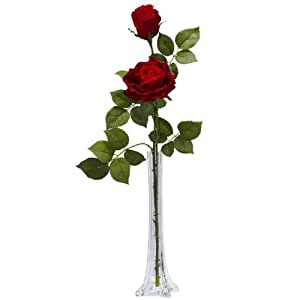 Nearly Natural 1283 Roses with Tall Bud Vase Silk Flower Arrangement, Red